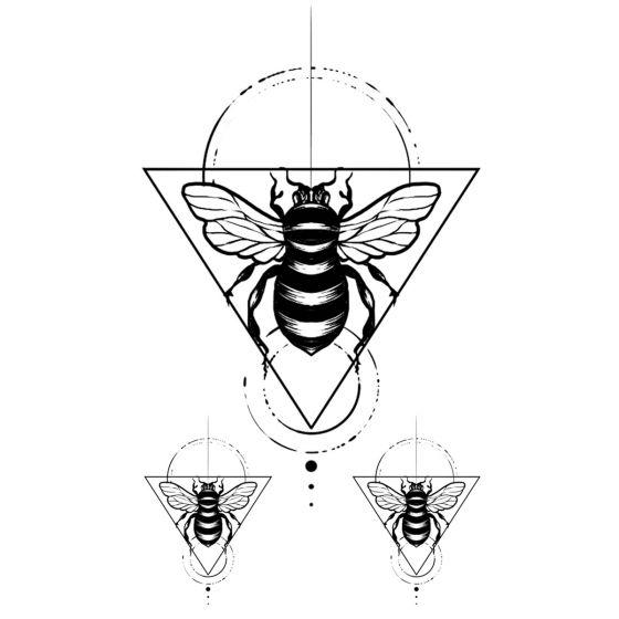 Tatouage éphémère abeille géométrique