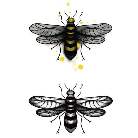 Tatouage éphémère abeilles