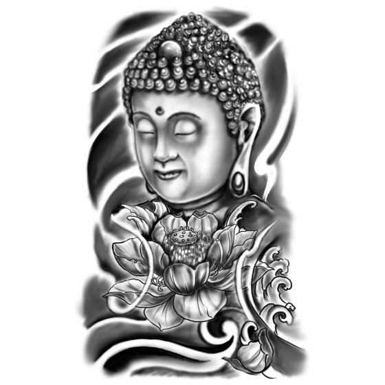 Tatouage éphémère bouddha et pivoine