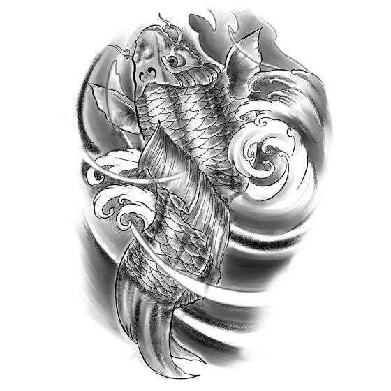 tatouage éphémère Carpe koï