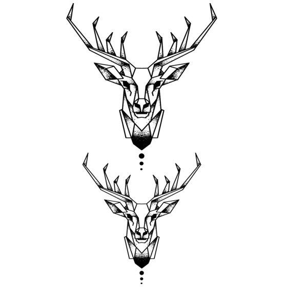 tatouage éphémère cerf géométrique