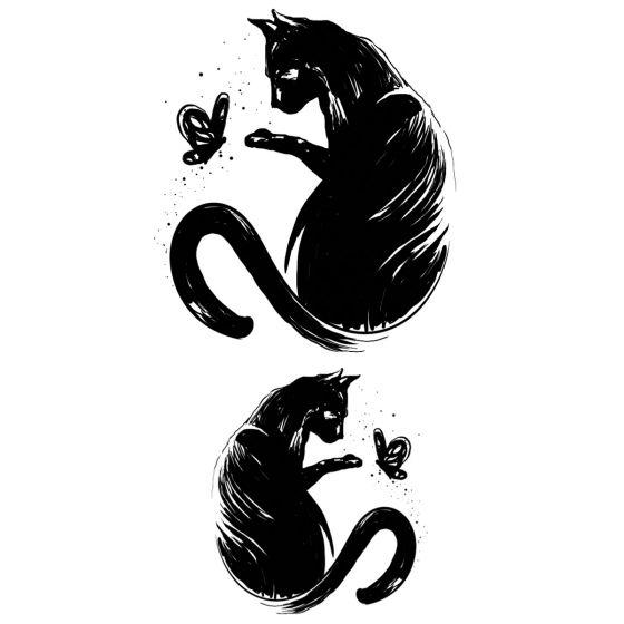 Tatouage éphémère chat et papillon