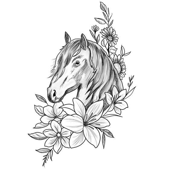 Tatouage éphémère cheval fleuri