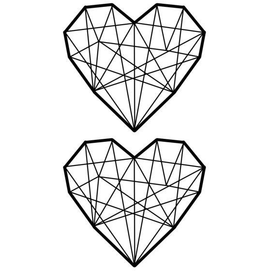 Tatouage éphémère coeur géométrique pack