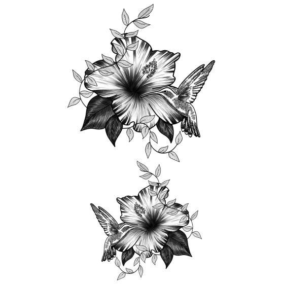 Tatouage éphémère Colibri et fleurs
