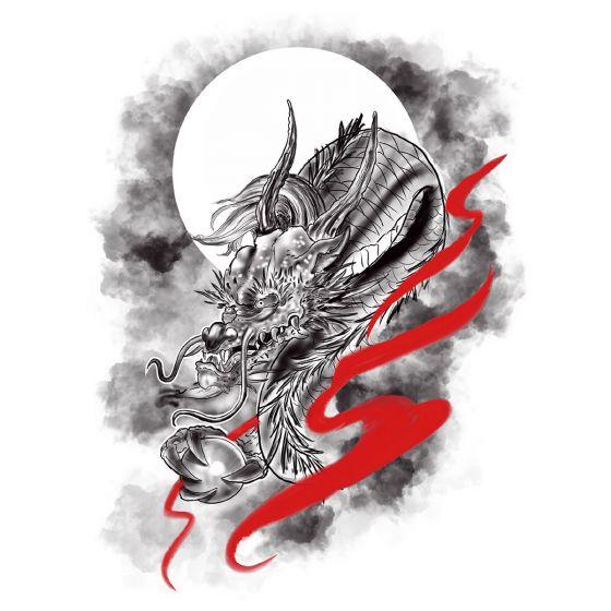 tatouage éphémère dragon d'Asie