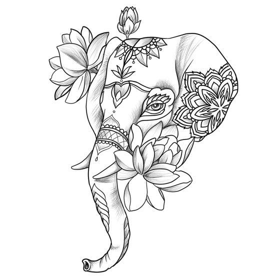 Tatouage éphémère éléphant décoré fleurs mandala