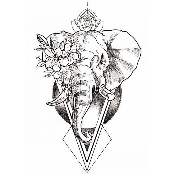 Tatouage éphémère éléphant géométrique fleurs