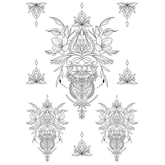 Tatouage éphémère Fleurs et arabesques #2