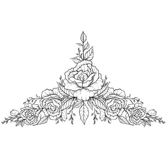 Tatouage éphémère underboob fleur pivoine #2
