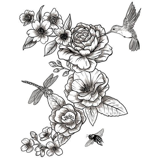 Tatouage éphémère fleurs colibri et insectes