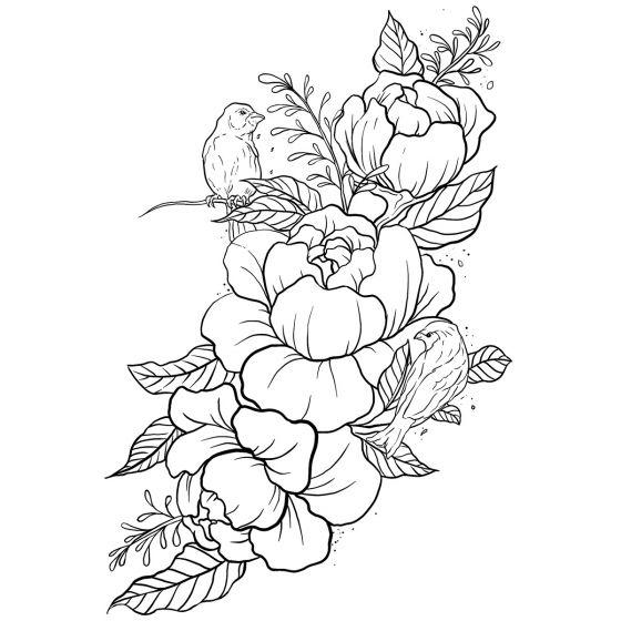 Tatouage éphémère Fleurs et Oiseaux