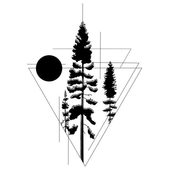 Tatouage éphémère géométrique forêt