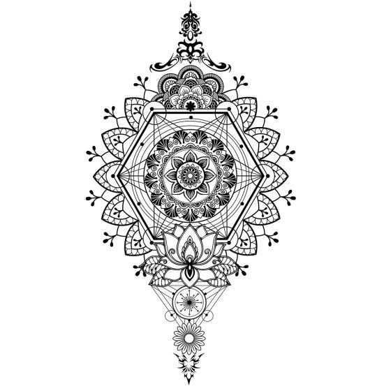 Tatouage éphémère grand mandala géométrie