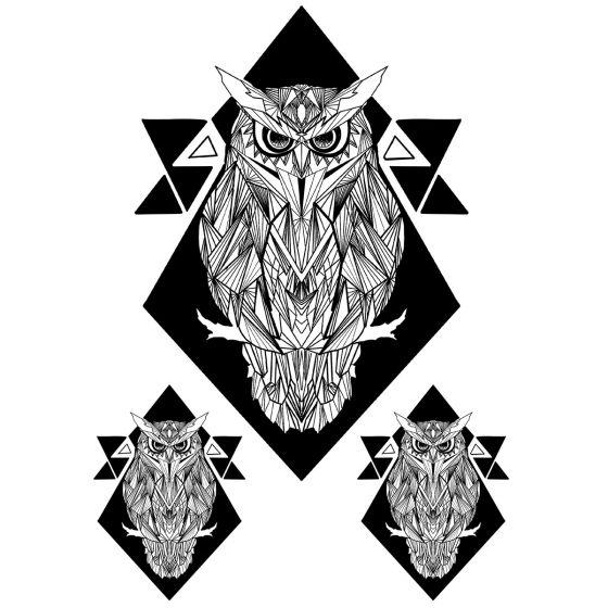 Tatouage éphémère hibou géométrique