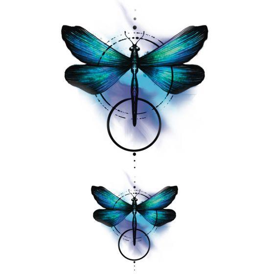 Tatouage éphémère libellule colorée géométrique