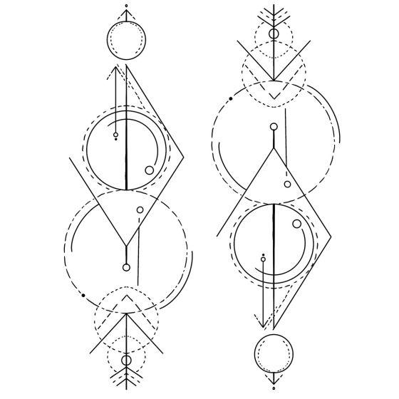 Tatouage temporaire Lignes et courbes #2