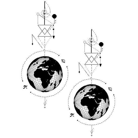 Tatouage éphémère lignes et planètes