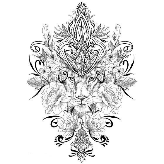 Tatouage éphémère lion décoré