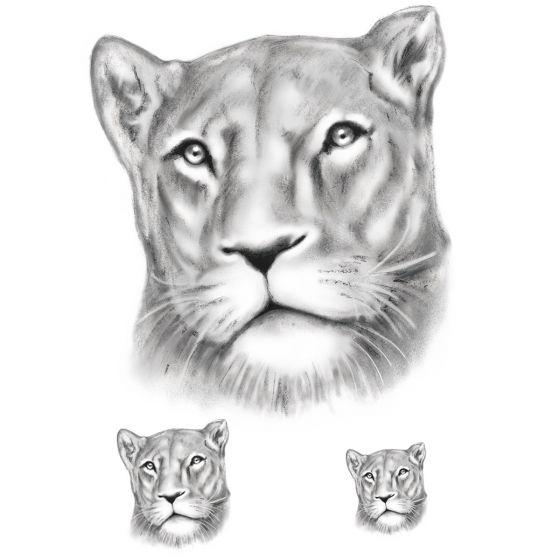 tatouage éphémère lionne