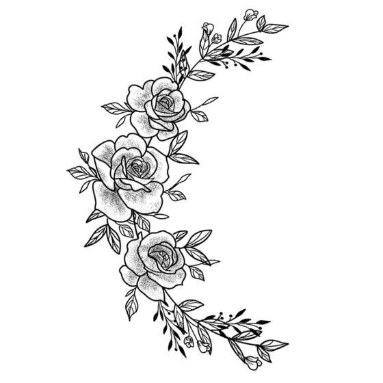 Tatouage éphémère croissant de lune en fleurs