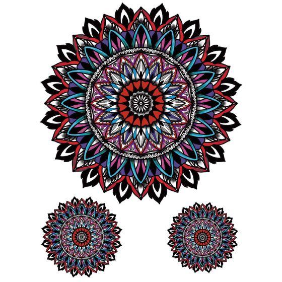 Tatouage éphémère mandalas colorés Pack