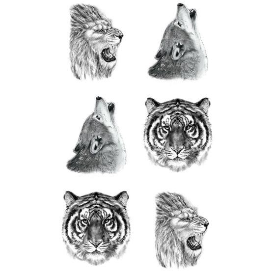 tatouage éphémère mini lion loup tigre