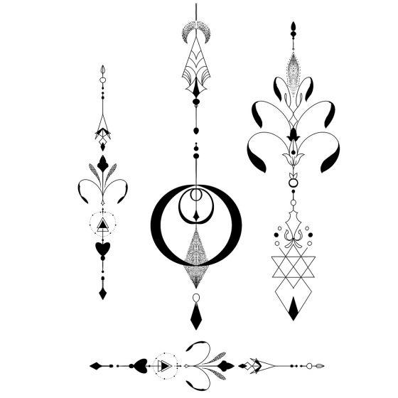 Tatouage éphémère Ornements géométriques #1