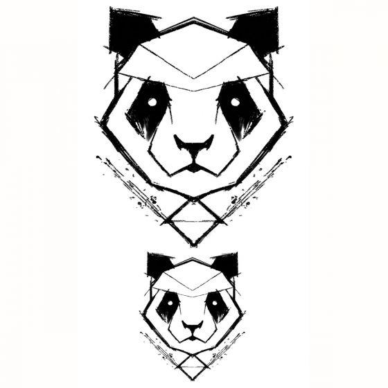 tatouage éphémère panda géométrique