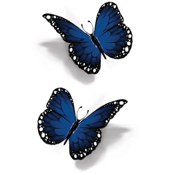 Tatouage éphémère papillon bleu 3D