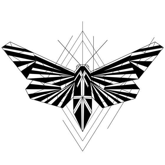 Tatouage éphémère papillon géométrique