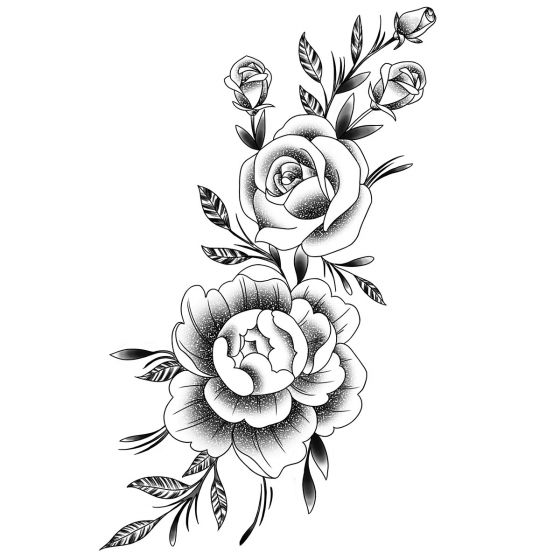 Tatouage éphémère pivoines et roses