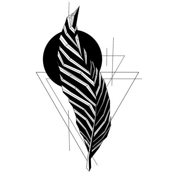 Tatouage éphémère plume géométrique