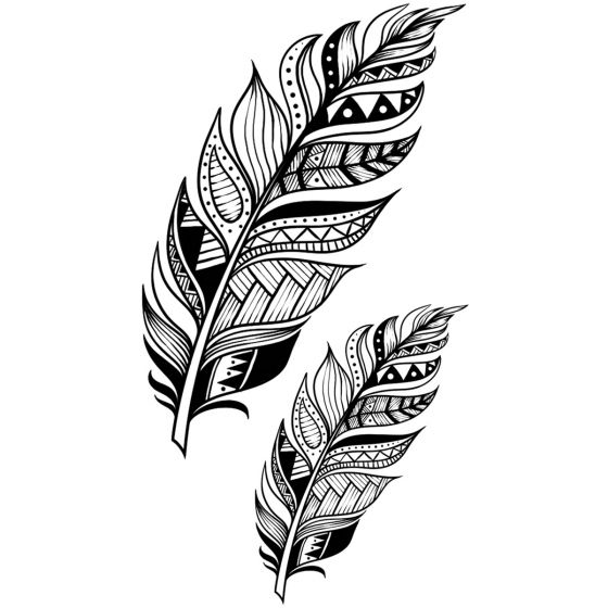 Tatouage éphémère Plume mandala