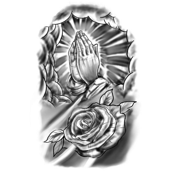Tatouage éphémère prière et rose