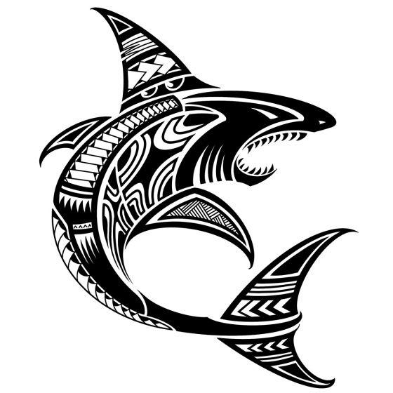 Tatouage éphémère requin polynésien