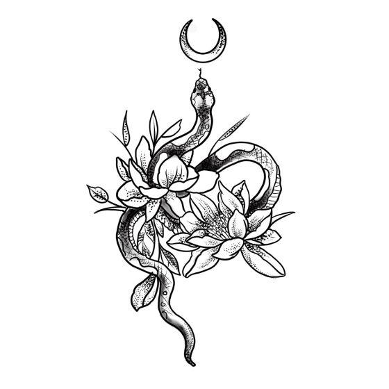 Tatouage éphémère serpent et fleurs
