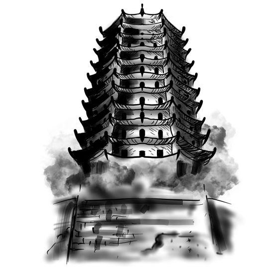 Tatouage éphémère temple