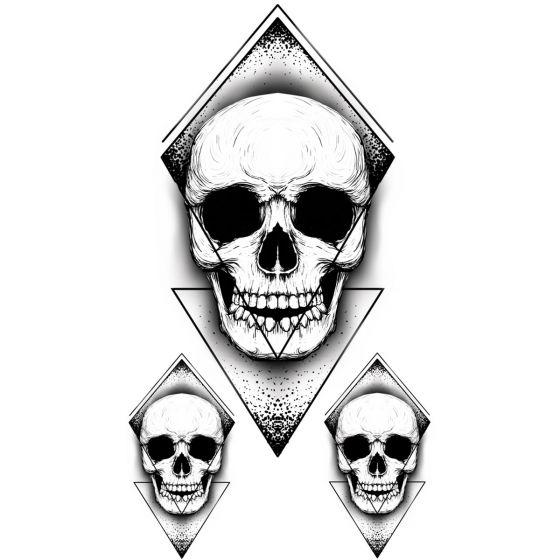 Tatouage éphémère tête de mort géométrique