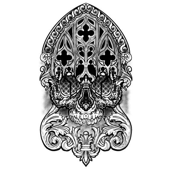 Tatouage éphémère tête de mort religieuse