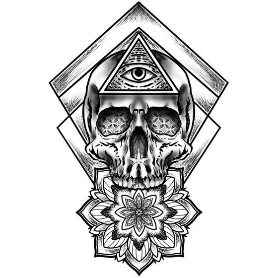 Tatouage éphémère Totem oeil tête de mort