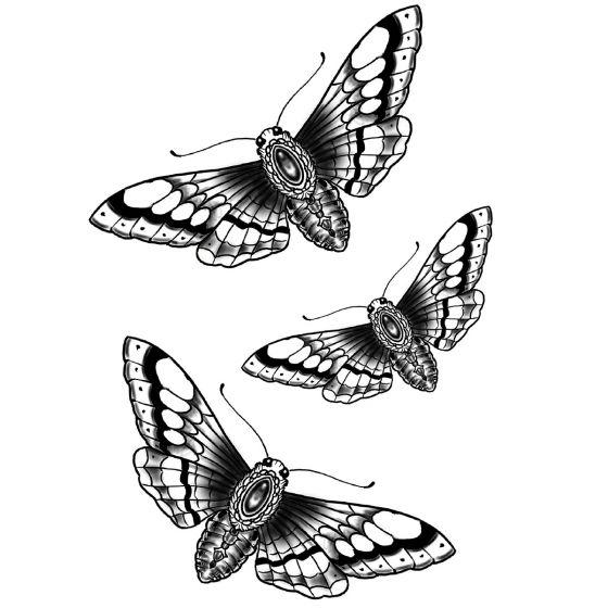 Tatouage éphémère traditionnel papillon