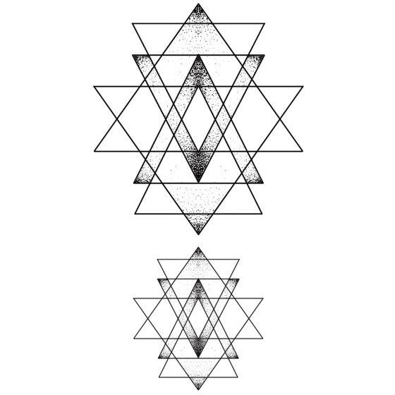 Tatouage éphémère triangles géométriques