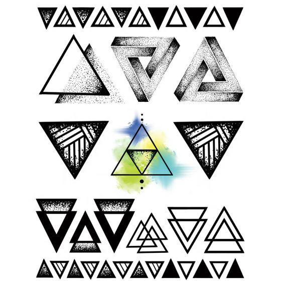 tatouage éphémère temporaire triangles