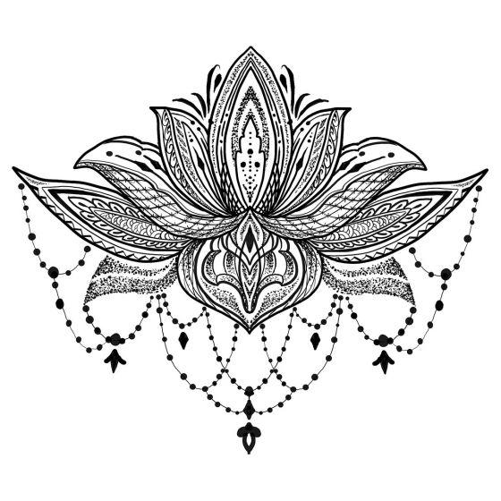 tatouage éphémère underboob fleur de lotus