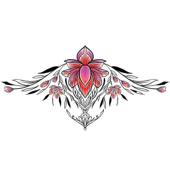 tatouage éphémère underboob fleur de lotus colorée et ornements