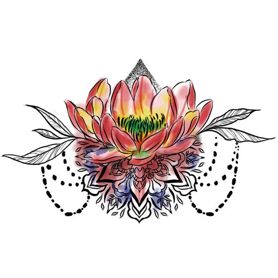 tatouage éphémère underboob fleur lotus multicolore