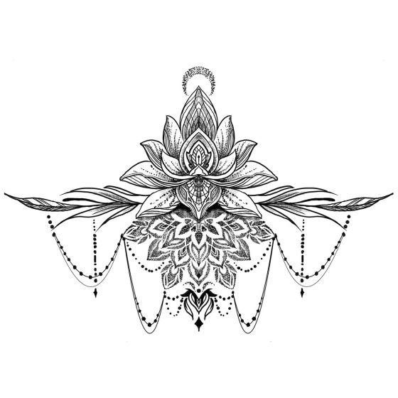 tatouage éphémère underboob lotus ornements