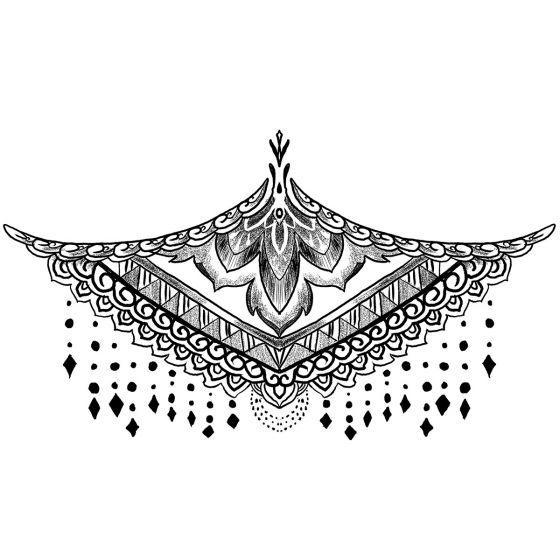 tatouage éphémère underboob ornements et pierres