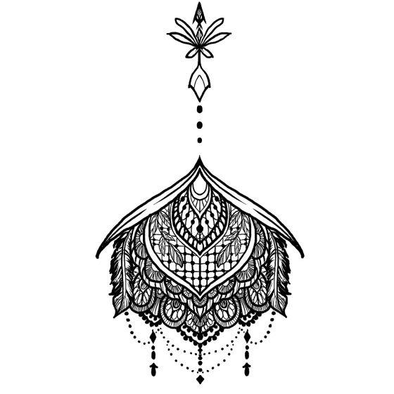 tatouage éphémère underboob plumes et ornements